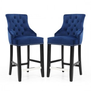 Chandler Ring Back Ocean Blue Brushed Velvet Bar Chair In Pair