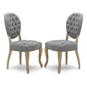 Chantilly Grey Fabric Dining Chair In Pair With Walnut Legs
