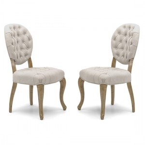 Chantilly Natural Fabric Dining Chair In Pair With Walnut legs