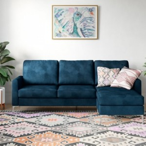 Chapman Corner Velvet Sofa Bed In Blue With Chrome Legs