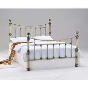 Charlotte Metal Double Bed In Antique Brass