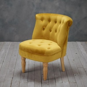 Charlotte Plush Velvet Bedroom Chair In Mustard