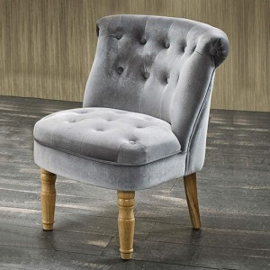 Charlotte Plush Velvet Bedroom Chair In Silver