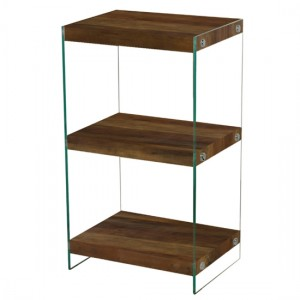 Charter Small Display Unit In Oak Effect With Glass Sides