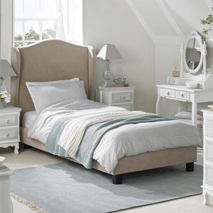 Chateaux Velvet Upholstered Wing Single Bed In Beige
