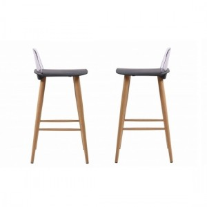 Chelsea Black Wooden Bar Stools In Pair