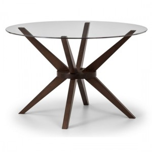 Chelsea Clear Glass Dining Table With Walnut Legs