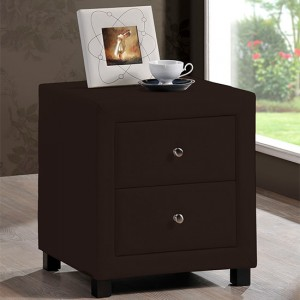 Chelsea Faux Leather 2 Drawers Bedside Cabinet In Brown