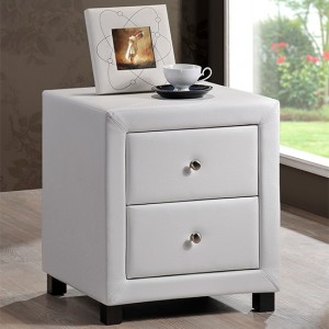 Chelsea Faux Leather 2 Drawers Bedside Cabinet In White