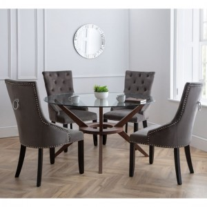 Chelsea Large Glass Dining Table With 4 Veneto Chairs