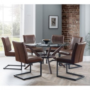 Chelsea Large Glass Dining Table With 6 Brooklyn Brown Chairs