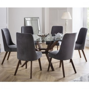 Chelsea Large Glass Dining Table With 6 Huxley Chairs