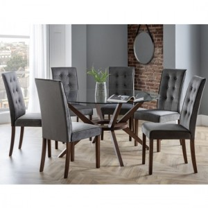 Chelsea Large Glass Dining Table With 6 Madrid Chairs