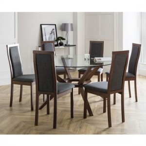 Chelsea Large Glass Dining Table With 6 Melrose Chairs