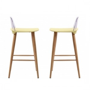 Chelsea Lime Wooden Bar Stools In Pair