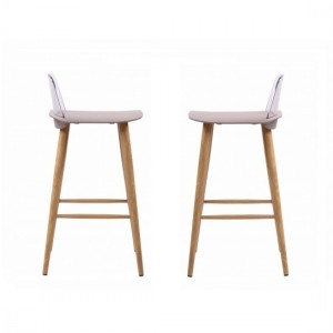 Chelsea Stone Wooden Bar Stools In Pair