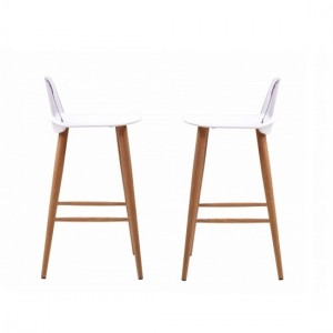 Chelsea White Wooden Bar Stools In Pair