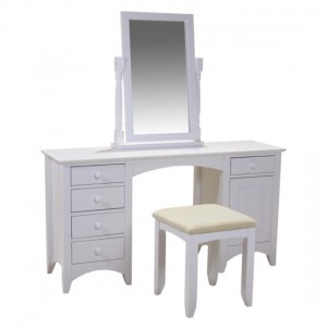 Chelsea Wooden Dressing Table With Mirror And Stool In White