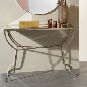 Chennai Nickel Console Table With Multicolour Mirrored Top