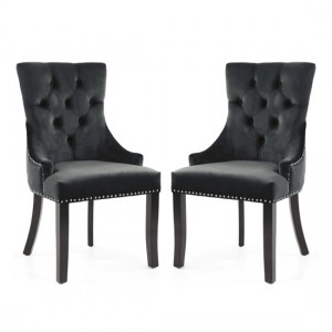 Chester Black Velvet Dining Chairs In Pair With Black Rubber Wood Legs