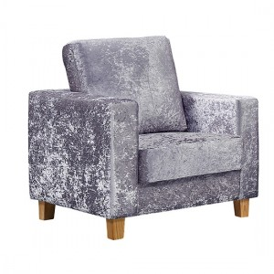 Chesterfield Crushed Velvet 1 Seater Sofa In Silver