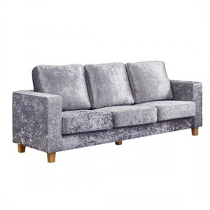 Chesterfield Crushed Velvet 3 Seater Sofa In Silver