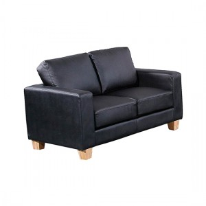 Chesterfield PU Leather 2 Seater Sofa In Black