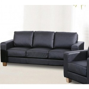 Chesterfield PU Leather 3 Seater Sofa In Black