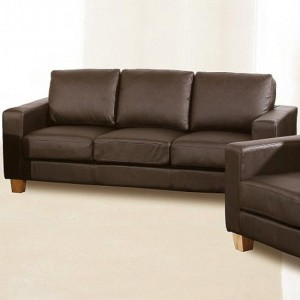 Chesterfield PU Leather 3 Seater Sofa In Brown