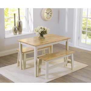 Munich Dining Table In Oak And Cream With 2 Dining Benches