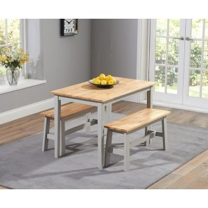 Munich Dining Table In Oak And Grey With 2 Dining Benches