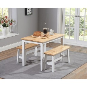 Munich Dining Table In Oak And White With 2 Dining Benches