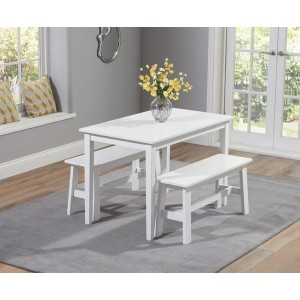 Munich Dining Table In White With 2 Dining Benches