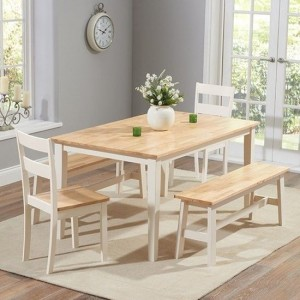 Chichester 150cm Dining Set With 4 Chairs And 1 Large Bench In Oak And Cream