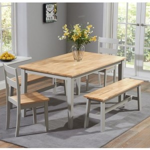 Chichester 150cm Dining Set With 4 Chairs And 1 Large Bench In Oak And Grey