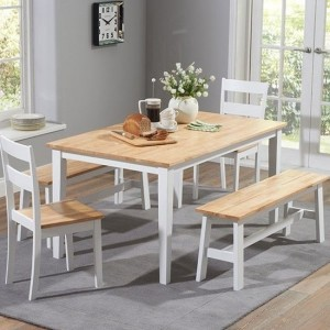 Chichester 150cm Dining Set With 4 Chairs And 1 Large Bench In Oak And White