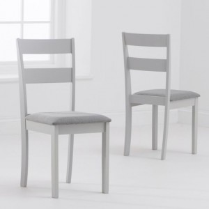 Chichester Grey Fabric Padded Dining Chairs In Pair