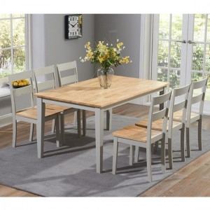 Chichester Large Wooden Dining Table With 4 Chairs In Oak And Grey