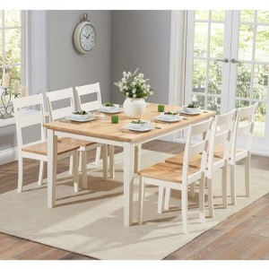 Chichester Large Wooden Dining Table With 6 Chairs In Oak And Cream