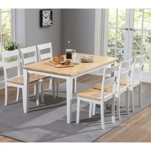 Chichester Large Wooden Dining Table With 6 Chairs In Oak And White