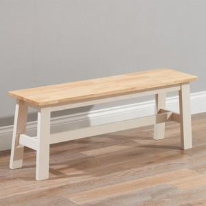 Chichester Solid Hardwood And Painted Large Dining Bench In Oak And Cream