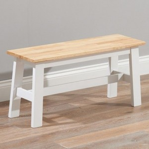 Chichester Solid Hardwood And Painted Small Dining Bench In Oak And White