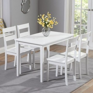 Chichester Wooden Dining Set In White With 4 Chairs