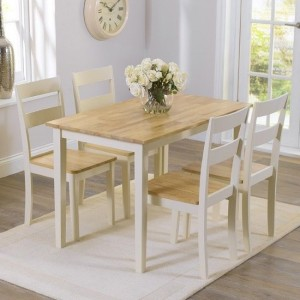 Chichester Wooden Dining Table With 4 Chairs In Oak And Cream
