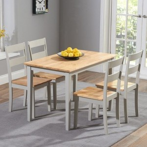 Chichester Wooden Dining Table With 4 Chairs In Oak And Grey