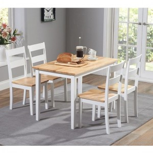Chichester Wooden Dining Table With 4 Chairs In Oak And White