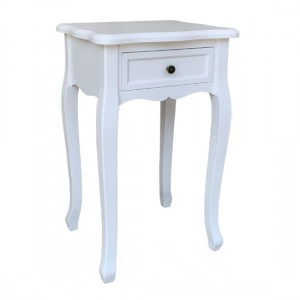 Chloe Wooden Bedside Cabinet In White With 1 Drawer