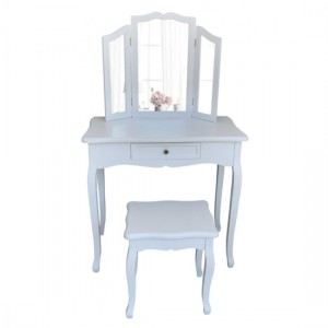 Chloe Wooden Dressing Table With Mirror And Stool In White