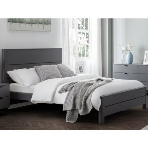 Chloe Wooden King Size Bed In Storm Grey