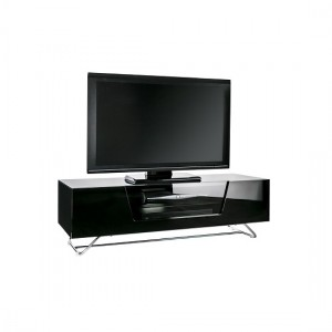 Chromium Medium Wooden TV Stand And Brackets In Black With Chrome Base